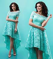 """Приталенное платье из гипюра с расклешенной асимметричной юбкой """"Паула"""" Бирюзовый, S"""