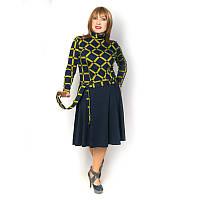 Женское трикотажное платье в клетку длинный рукав