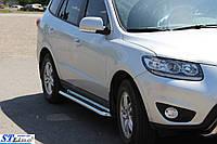 Боковые пороги для Hyundai Santa fe 2006-2013 d:51 ST Line