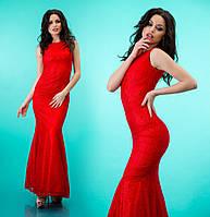 """Платье годе облегающего силуэта из гипюра """"Мирабель"""" Красный, 42"""