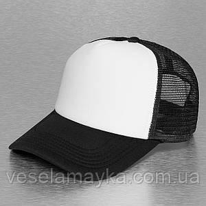 Черная кепка тракер с белым
