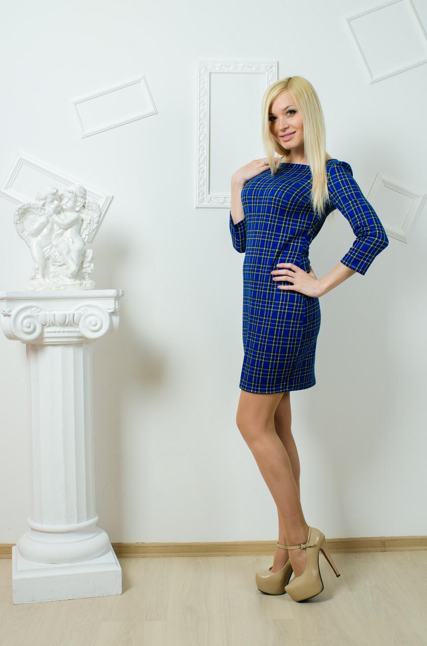 Платье женское клетка электрик