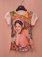 """Нарядные футболки для девочек с принтом """"Девочка в наушниках"""" 7-12 лет."""
