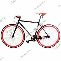 """Велосипед Profi FIX 26C70028"""" Fixed Gear Bike, Фикс и Сингл спид (Черно-красный)"""