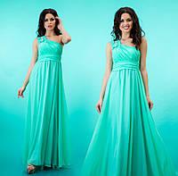"""Вечернее платье в пол с декорированной шлейкой на одно плечо """"Селеста"""" Бирюзовый, 42-46"""
