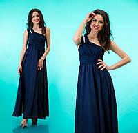 """Вечернее платье в пол с декорированной шлейкой на одно плечо """"Селеста"""" Темно синий, 42-46"""