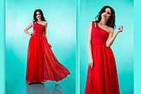 """Вечернее платье в пол с декорированной шлейкой на одно плечо """"Селеста"""" Красный, 42-46"""