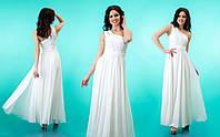 """Вечернее платье в пол с декорированной шлейкой на одно плечо """"Селеста"""" Белый, 42-46"""