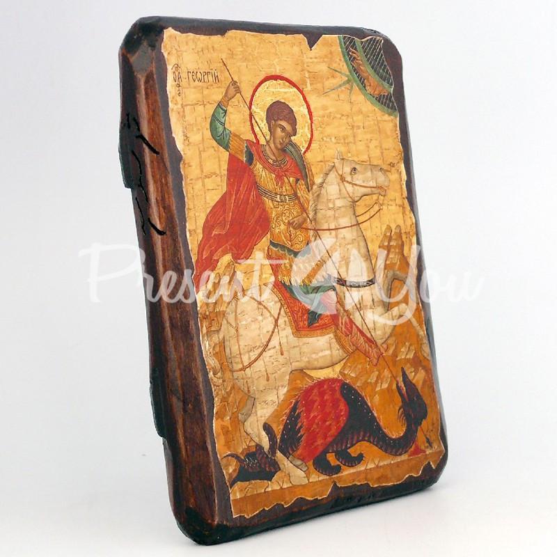 Деревянная икона Чудо Георгия о змие, 17х13 см.