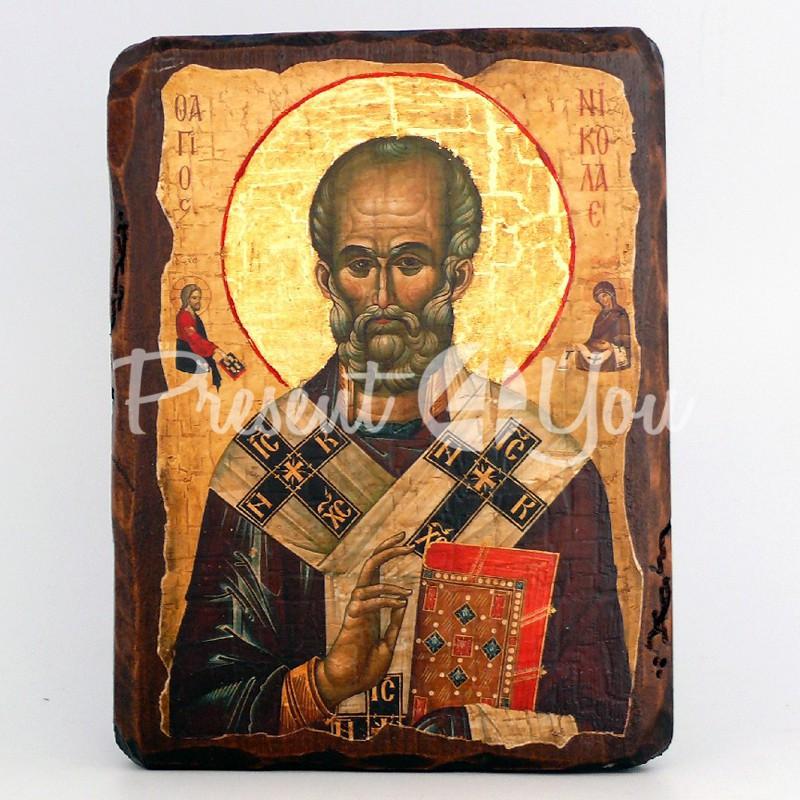 Деревянная икона Святой Николай Чудотворец, 17х13 см.