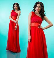 """Вечернее платье в пол с декорированной шлейкой на одно плечо """"Лоретта"""" Красный, 42-46"""
