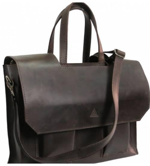 Мужской кожаный портфель M-05 коричневый