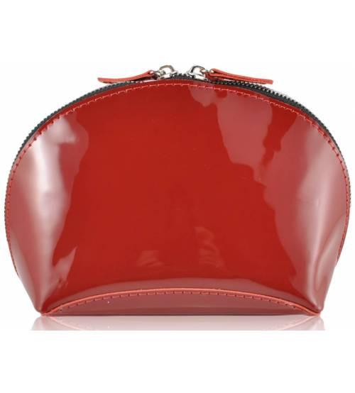 Кожаная косметичка W-03 красная