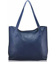 Женская кожаная сумка классическая синяя