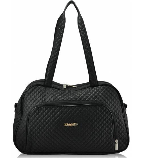 Стеганая сумка саквояж черная