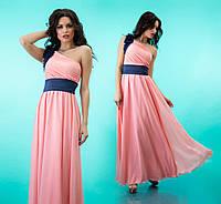 """Вечернее платье в пол с декорированной шлейкой на одно плечо """"Лоретта"""" Розовый, 42-46"""