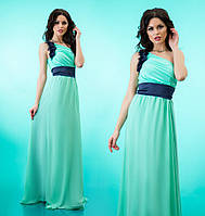 """Вечернее платье в пол с декорированной шлейкой на одно плечо """"Лоретта"""" Бирюзовый, 42-46"""