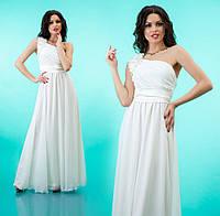 """Вечернее платье в пол с декорированной шлейкой на одно плечо """"Лоретта"""" Белый, 42-46"""