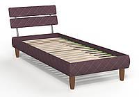 Кровать 0,8х2 Бизе, ткань Сидней 11, ножки буковые трапеция