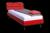 Кровать 0,8х2 Бизе, к/з Скаден красный, ножки буковые конус
