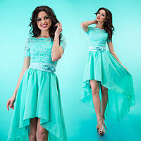 """Комбинированное платье из гипюра и шифона с асимметричной юбкой клеш """"Лэйла"""" Бирюзовый, 42-46"""