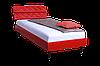 Кровать 160х20 Бизе, к/з Скаден красный, ножки буковые конус