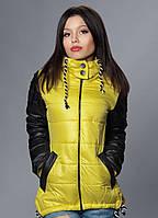 Женская демисезонная куртка - парка, цвет желтый