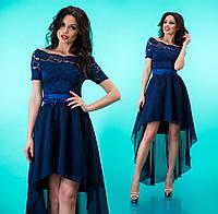 """Комбинированное платье из гипюра и шифона с асимметричной юбкой клеш """"Лэйла"""" Темно синий, 42-46"""