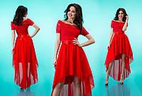 """Комбинированное платье из гипюра и шифона с асимметричной юбкой клеш """"Лэйла"""" Красный, 42-46"""