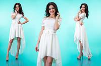 """Комбинированное платье из гипюра и шифона с асимметричной юбкой клеш """"Лэйла"""" Белый, 42-46"""