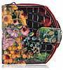 Женский кожаный кошелек 001B-9 цветы черный, фото 3