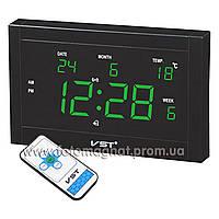 Часы сетевые 771 Т-4 говорящие салатовые, пульт Д/У (электронные часы настольные,настенные)