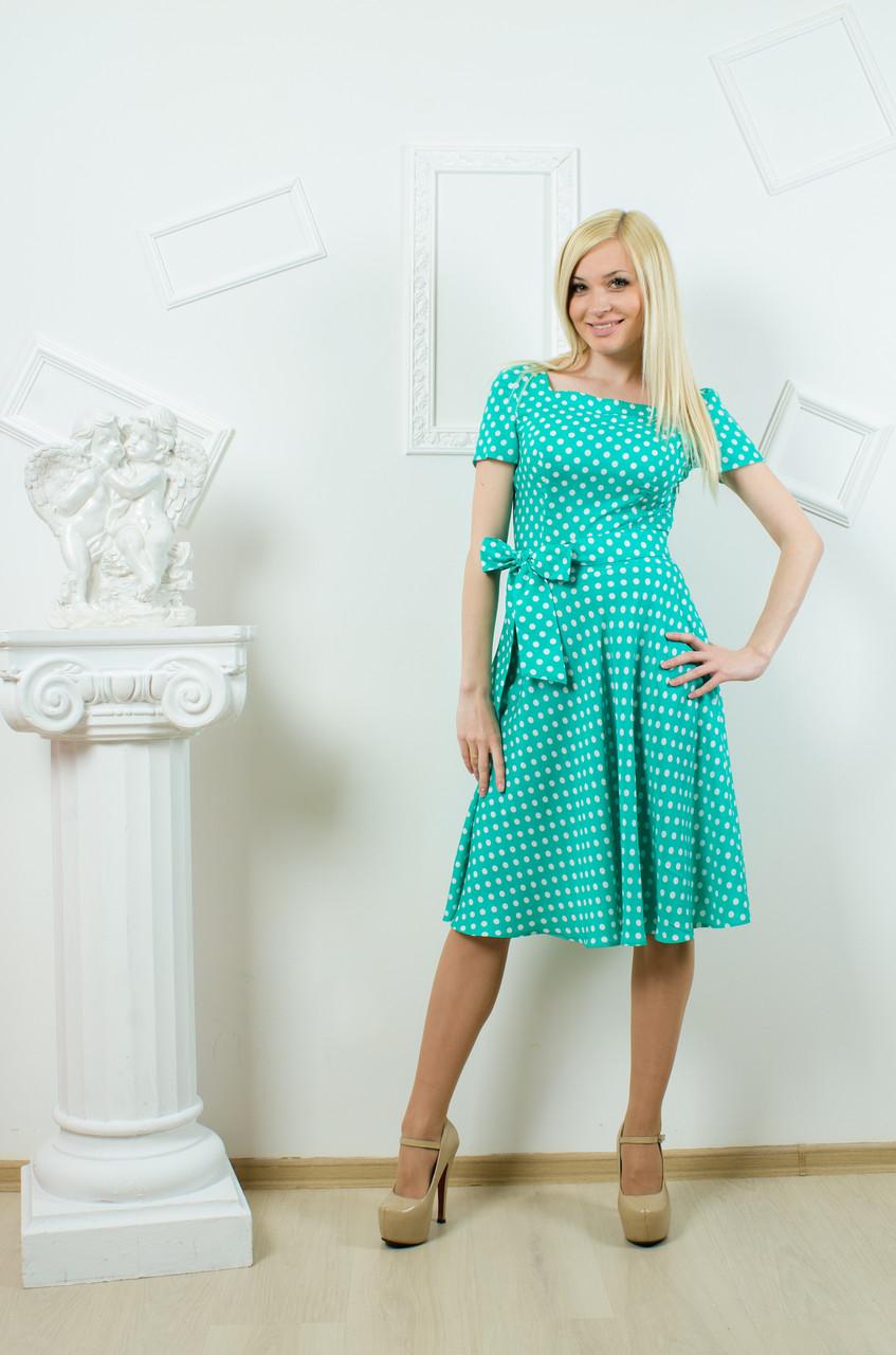 Платье летнее горох мята