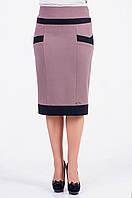Модная батальная юбка с темными вставками