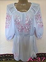 Женская белая вышиванка с розовыми цветами Жіноча блузка з вишивкою.