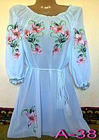 Жіноча біла вишиванка з ліліями