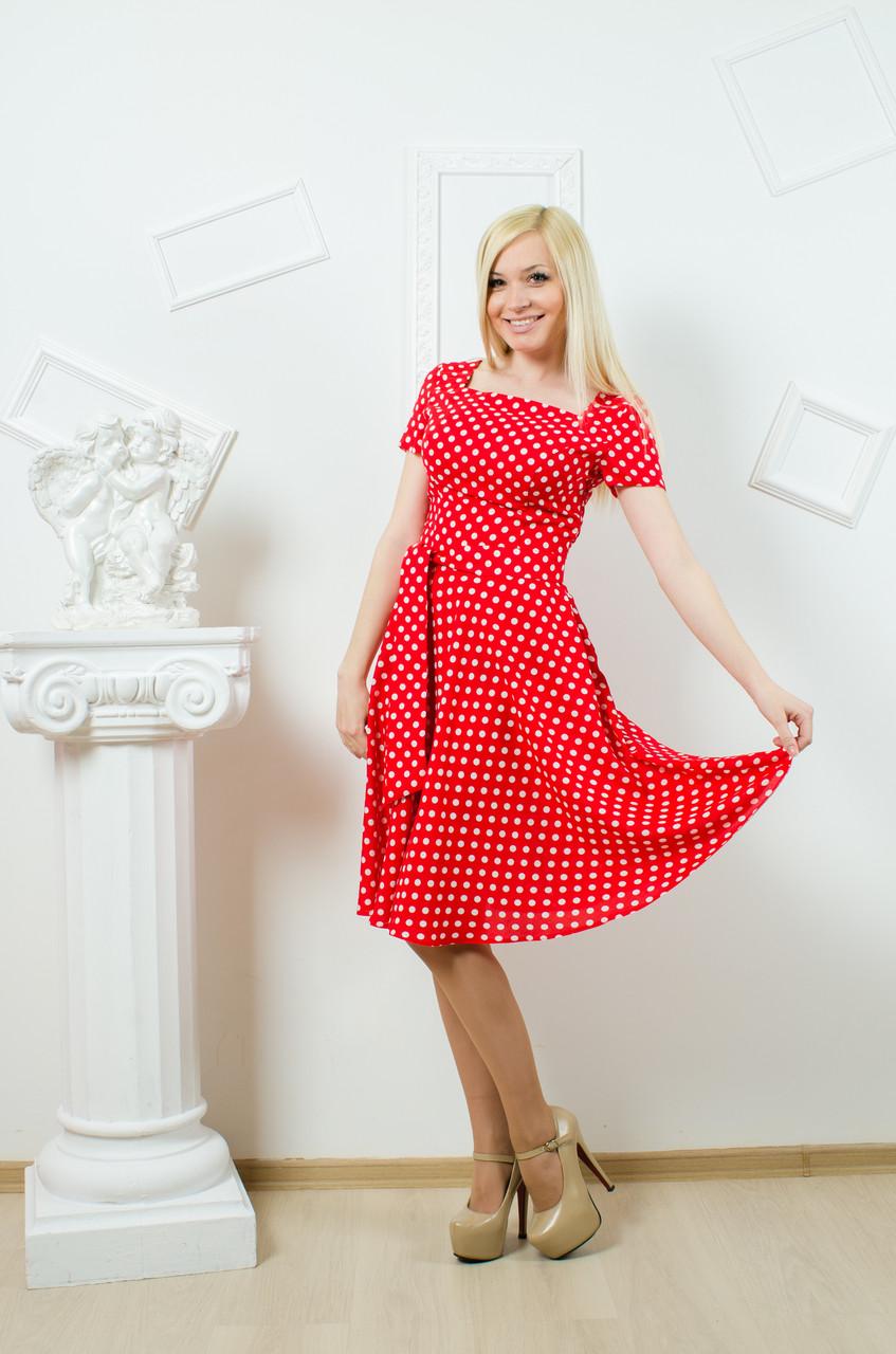 Платье летнее горох красное