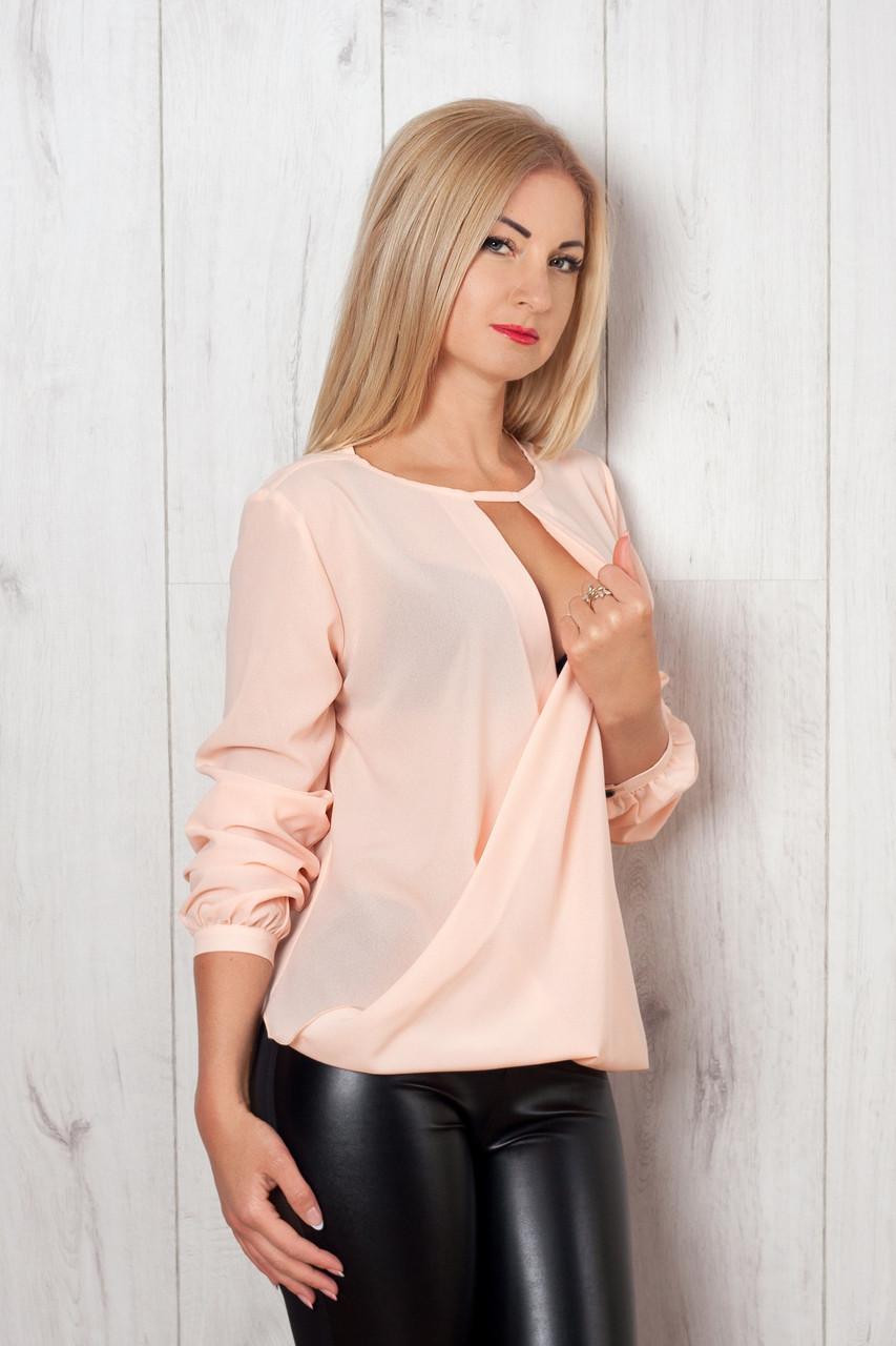 Женская шифоновая блуза с запахом, пудра