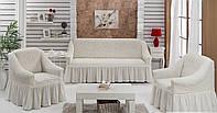 Набор чехлов Arya Burumcuk: 1 диван + 2 кресла кремовый