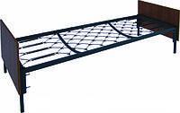 Кровать металлическая одноярусная с деревянными спинками