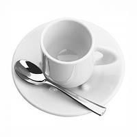 Набор из 2 кофейных чашек Bugatti Perla с блюдцами и ложками белый
