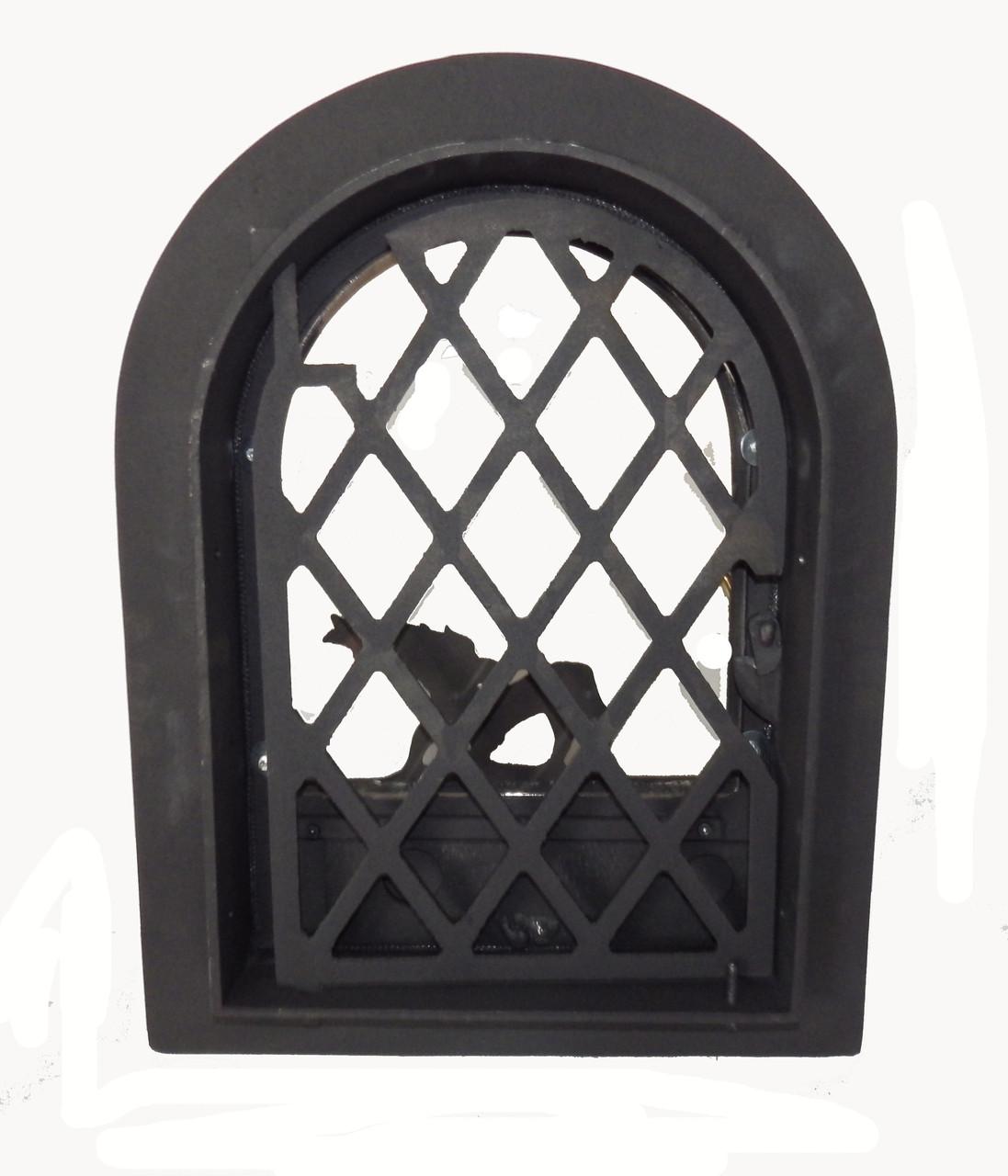 Чугунная дверка для печи со стеклом- VVK 35х47см/27 х 38см