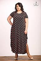 Платье Мариетта горох, с разрезами, летнее, длинное, трикотаж масло, большого размера 54-60, батал