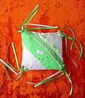 """Свадебная подушка под кольца """"Бело-зеленая"""" (6)"""