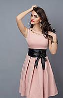 Коктельное женское платье с пояском 386-6 розовое