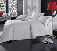 Двуспальный однотонный евро комплект постельного белья Cotton Box Plain Gri, ранфорс, Турция
