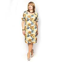 Летнее женское платье больших размеров в цветочки