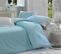 Двуспальный однотонный евро комплект постельного белья Cotton Box Plain Mavi, ранфорс, Турция,