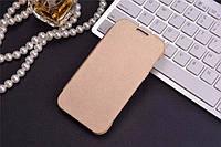 Чехол книжка для Samsung Galaxy J1 J100 флип gold