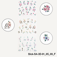 3D наклейки для дизайна ногтей. Выпуклые цветы. Stick-SA-3D